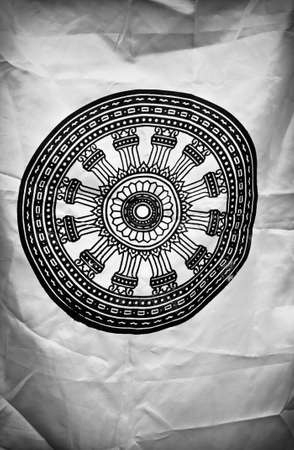 dhamma: B W Wheel of Dhamma Stock Photo