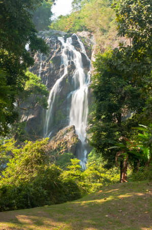 The famous waterfall in Kamphaeng Phet province   Stock Photo