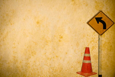 traffic cones and traffic sign curved Stock Photo - 18497493