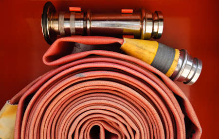 first responder: Red fire hose