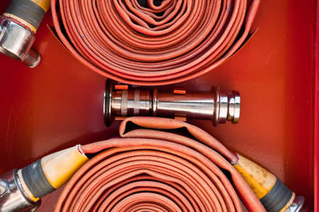 Red fire hose