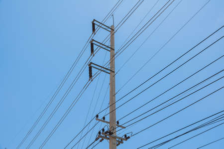 electricity post in blue sky background  photo