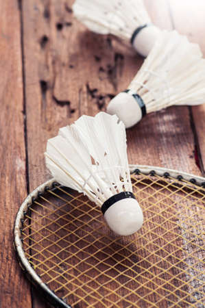 sports equipment: badminto racquets with shuttlecock