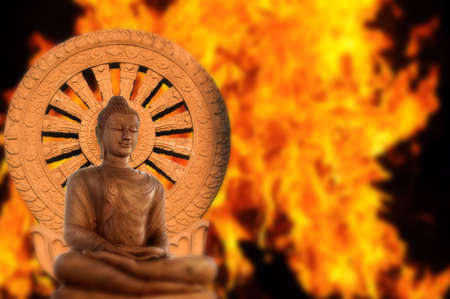 dhamma: Buddha and Wheel of Dhamma  Stock Photo