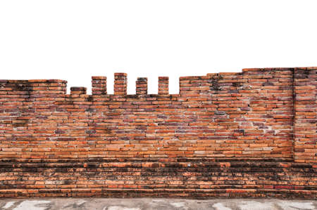 Old brick wall on white background