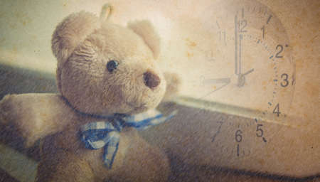 the old days: Bear in old vintage uncolored style, concept of memory, old days,in time
