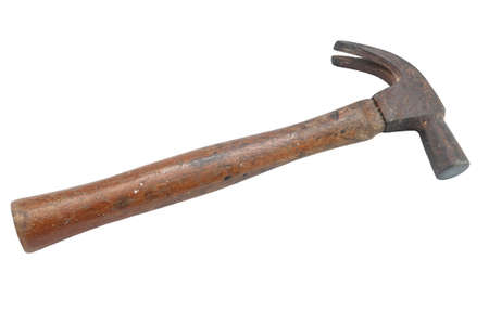 Old hammer isolated on a white background Stock Photo
