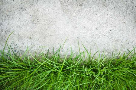 Abstracte achtergrond met kunstgras op cement vloer