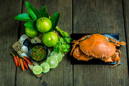 Steamed Crab with Seafood Sauce Stock Photo