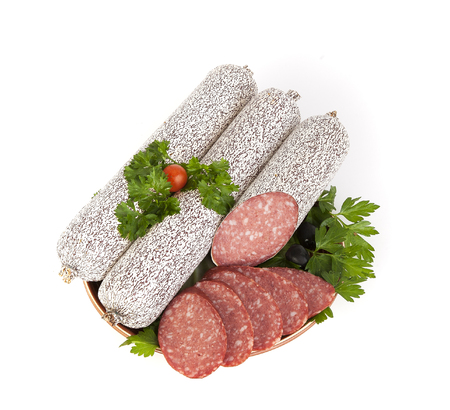 Smoked sausage salami isolated on a white background. Stock Photo