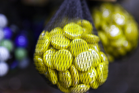 Flat Bright Yellow Decorative Glass Stones In A Grid Decoration