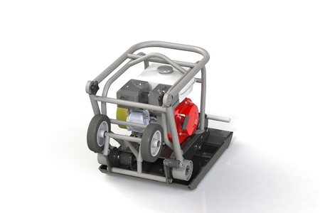 3D modeling of a construction vibration plate with a two-stroke internal combustion engine. This is my engineering project which is prepared for serial production. 写真素材