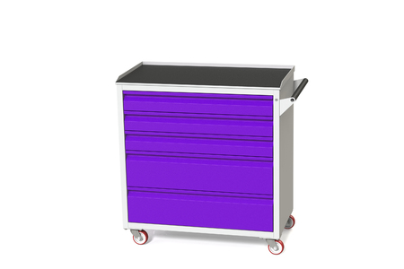 Metal tool cabinet-table on wheels with drawers. A convenient place for storing tools and spare parts. Service Garage Tools Box. 3D-model rendering of the table for shooting from above. Stock Photo