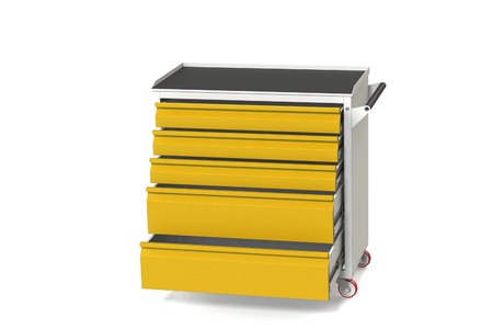 Metal Tool Cabinet Table On Wheels With Drawers. A Convenient Place For  Storing Tools