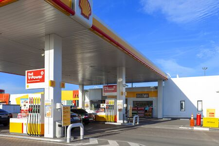 TOLYATTI, RUSSIA, JUNE 14, 2018: FUEL AND GAS STATION, PETROL PUMP. RESTING-PLACE IN THE ROAD