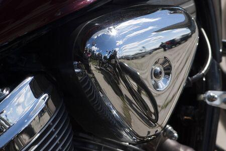 TOLYATTI, RUSSIA, JUNE 25, 2005: motorcycle show of bikers. Shiny chrome motorcycle engine block Chopper. Redakční