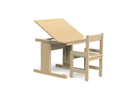 Beau Childrenu0027s Small Wooden Table And Chair. School Desk With Adjustable Height  And Chair With Armrests