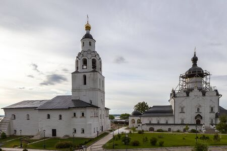 Sviyazhsk, Russia, June 04, 2018: Assumption Cathedral in Sviyazhsk, Republic of Tatarstan. White wall building.  Russia is a male monastery, included in UNESCO World Heritage list.