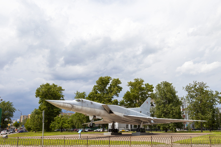KAZAN, RUSSIA, JUNE 05, 2018: The plane-monument TU-22M3 in Kazan. The fastest bomber in the world. Editorial