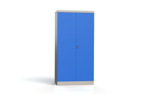 Metal cabinet with shelves for tools. Fireproof shelving for documents. A convenient place for storing documents, tools and spare parts. Metal furniture. 3D model rendering. Stockfoto
