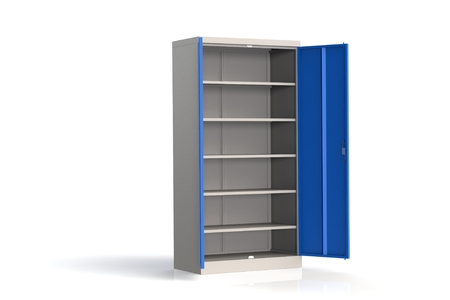 Metal cabinet with shelves for tools. Fireproof shelving for documents. A convenient place for storing documents, tools and spare parts. Metal furniture. 3D model rendering. Archivio Fotografico