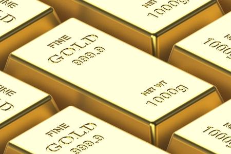 Lingot d'or sur fond blanc sur fond blanc. rendu 3D