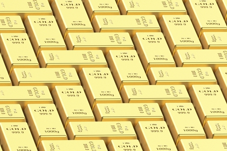 Bar of gold on a white background on a white background. 3d rendering