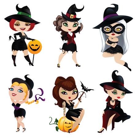 brujas caricatura: Conjunto de 6 brujas encantadoras Vectores