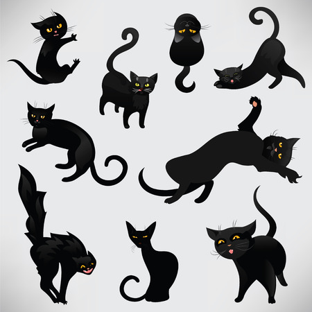 shape silhouette: Set of black cats