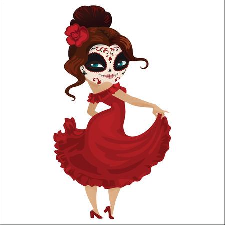Girl dancer on carnival Stock Illustratie