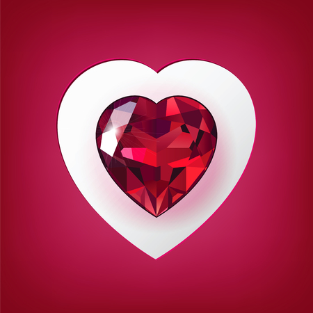 Original greeting card with a red gemstone in the shape of heart Vettoriali