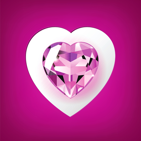 Original greeting card with a pink gemstone in the shape of heart Vector