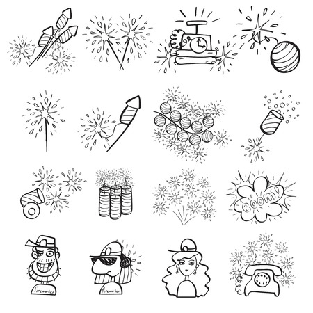 doodle art: Fireworks set of icons painted by hand
