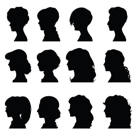 silueta humana: Conjunto de siluetas de los perfiles de las mujeres para su dise�o