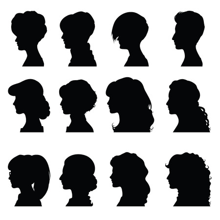 woman face profile: Set of silhouettes of profiles women for your design