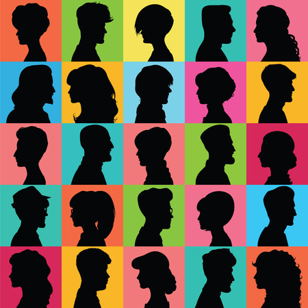 male face profile: Set of opposite-sex avatars for your design Illustration