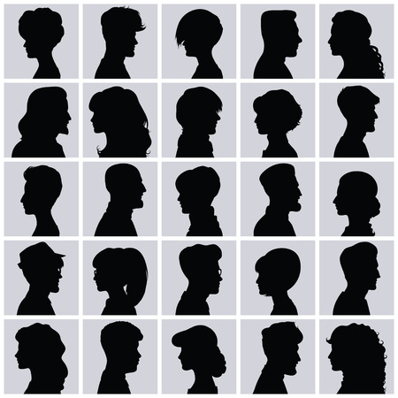 woman side view: Set of opposite-sex avatars for your design Illustration