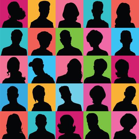 cabeza de mujer: Conjunto de los avatares de distinto sexo para su dise�o Vectores