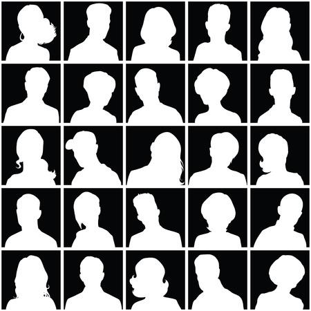 silueta hombre: Conjunto de los avatares de distinto sexo para su dise�o Vectores