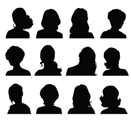 'head and shoulders': Silhouettes of a womans head in frontal with different hairstyles