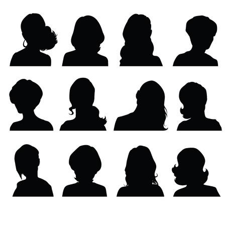 simbolo de la mujer: Siluetas de la cabeza de una mujer en frontal con diferentes peinados