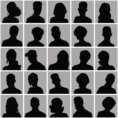 silueta: Conjunto de los avatares de distinto sexo para su dise�o Vectores