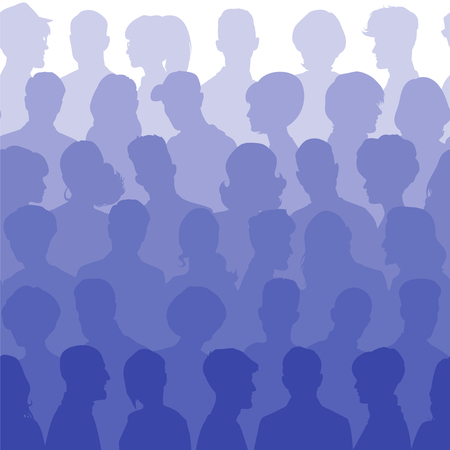 woman back of head: Seamless pattern of people silhouettes for your design