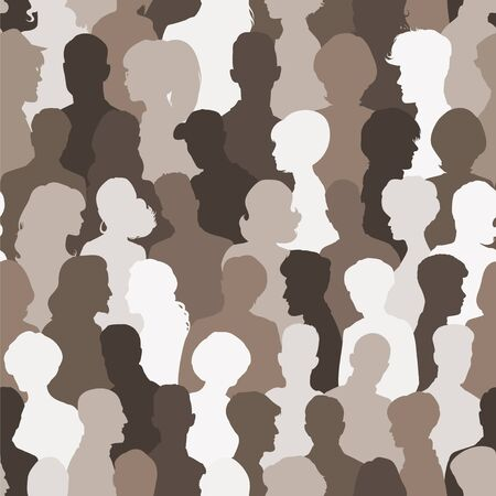 unrecognizable person: Seamless pattern of people silhouettes for your design