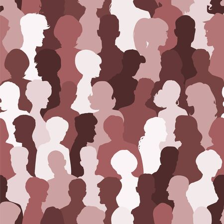 Seamless pattern of people silhouettes for your design