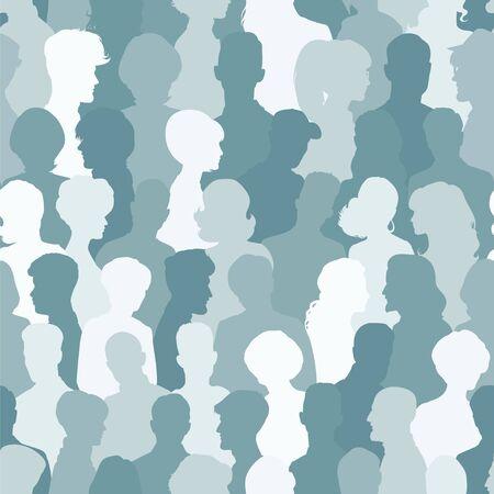 woman back of head: Seamless di sagome di persone per il vostro disegno Vettoriali