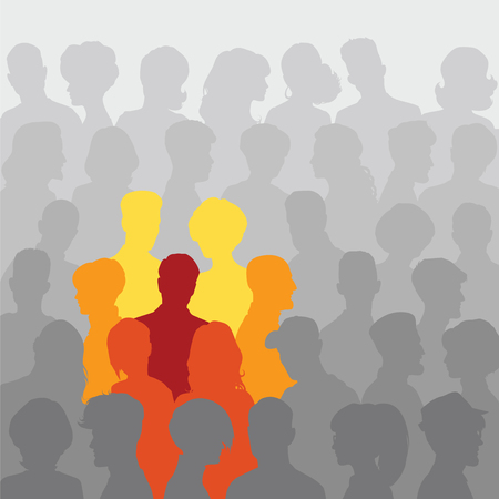crowd: Abstract background of people silhouettes for your design