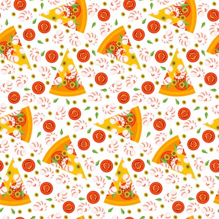eat cartoon: Seamless pattern of pizza slices with ingredients. Bright seamless background of vector slices of pizza in a flat style. Vector illustration.