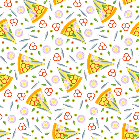 cartoon tomato: Seamless pattern of pizza slices with ingredients. Bright seamless background of vector slices of pizza in a flat style. Vector illustration.
