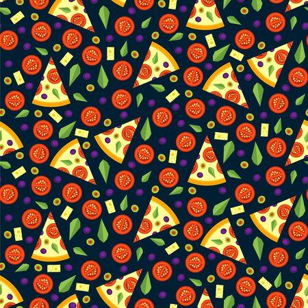 cocina caricatura: sin patr�n de porciones de pizza con ingredientes. brillante de fondo sin fisuras de las rebanadas del vector de pizza en un estilo plano. Ilustraci�n del vector.